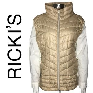 Ricki's Gold & Cream Quilted Puffy Vest Knit Side